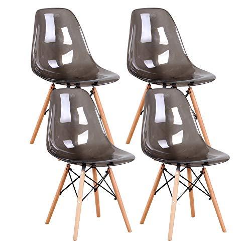 MUEBLES HOME - Juego de 4 sillas de cocina modernas de mediados de siglo de plástico transparente para salón de ocio, para comedor, dormitorio, sala de estar, gris
