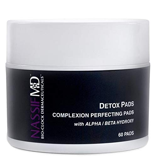 NassifMD Face Detox Pads - Facial Wipes to Help Reduce Pores, Brighten and Smooth Skin (60 Pads)
