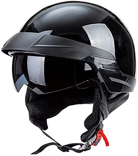 YLFC Retro Motocicleta Casco Abiertos,ECE Homologado Retro Medio Casco Jet con Gafas de Protección Casco Moto De Cara Abierta Unisex Four Seasons Universal Casco Moto (Color : C, Size : XL)