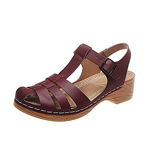 Geilisungren Damen Geschlossener Zeh Sandalen Keilabsatz Vintage Aushöhlen Riemchensandalen Freizeit Sommerschuhe Atmungsaktive Wedge Schuhe Plattform Sandalen