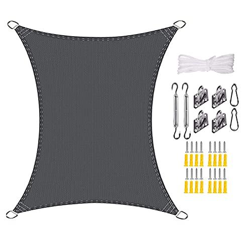 DANWU Vela de Sombra 3.5x3.5m Rectangular Protección Rayos UV Resistente a la Intemperie Se Instala Fácil Toldo Resistente para Dar Sombra a su Jardín, Gris Oscuro