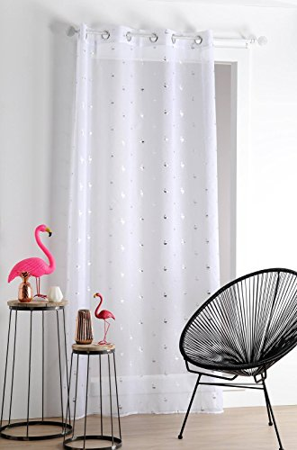 Lovely Casa FLAMI Voile 140X260 CM, Polyester, Blanc