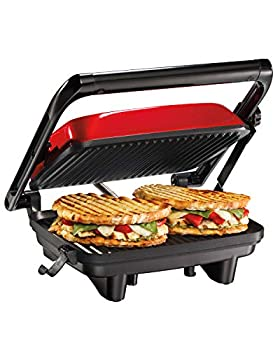 Hamilton Beach Electric Panini Press Grill with Locking Lid Opens 180 Degrees for Any Sandwich Thickness Nonstick 8  X 10  Grids Red  25462Z
