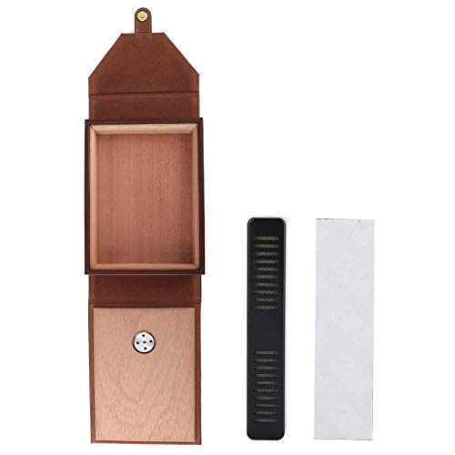 HGY Tragbare Mini-Leder-Humidor Zigarren-Box Zedernholz Zigarette Behälter-Speicher-Fall (Brown)