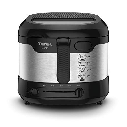 Tefal Uno M Fritteuse FF215D | 1600 Watt | Kapazität: 1 kg | Einstellbares Thermostat | Sichtfenster | Abtropfposition | Edelstahl/Schwarz