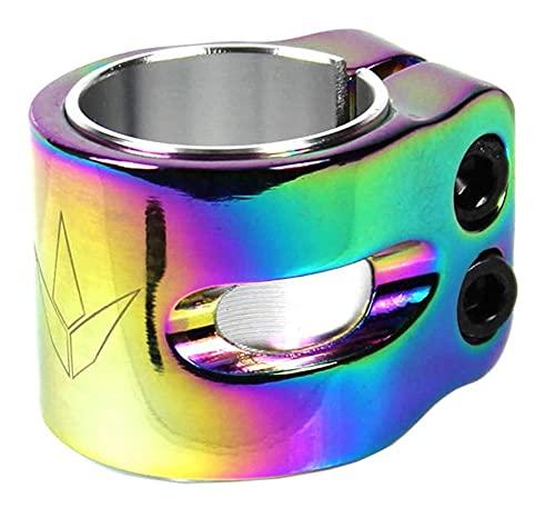 Abrazadera de repuesto para manillar de patinete de Blunt, para niños de 31,9/34,9 pulgadas + pegatina Fantic26 (arcoíris arcoíris neocromático)