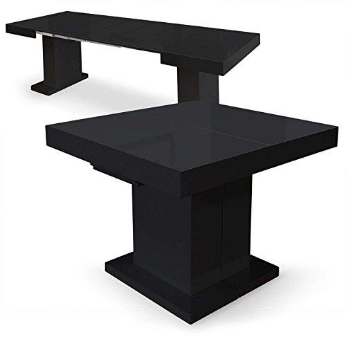 Menzzo Table Extensible Carrée Mustang avec Pied Central, MDF Laqué, Noir, 100x90x75 cm