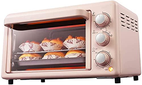 ZJDM Mini Horno Rosa de 19L con Temperatura Ajustable 0-240 ℃ y Temporizador de 60 Minutos 3 Modos de Calentamiento Hornear Pasteles en el hogar Barbacoa Horno eléctrico Posición de horneado dobl