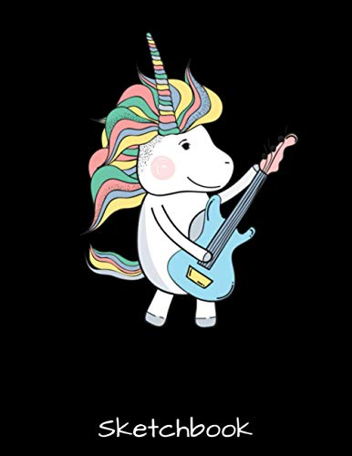 Sketchbook: Music Lover Unicorn Playing Guitar Gift - Magical Guitarist Sketch Book with Blank Paper for Drawing Painting Creative Doodling Sketching ... Lovers Journal And Sketch Pad For Drawing