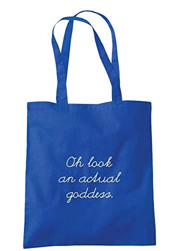 illustratedidentity Oh Look An Actual Goddess Tragetasche 37,5 x 42 cm mit langen Griffen, Blau - königsblau - Größe: Einheitsgröße