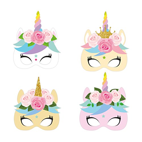 NUOBESTY 12 mscaras de Unicornio para nios, mscara de Media Cara para nios, mscara de Cosplay, Unicornio, Fiesta de cumpleaos, decoracin