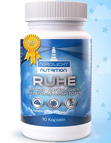 NEUEINFÜHRUNG: Nordlicht Nutrition® - Ruhe (90 Kapseln) ohne chemisches Schlafmittel dafür mit den natürlichen Melatonin¹-Vorstufen L-Tryptophan² & 5-HTP³ + GABA, Baldrian, Hopfen & Lavendel