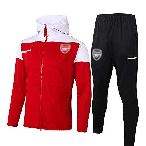 QWW Traje de Entrenamiento de fútbol de Arsenal Rojo de Manga Larga con Cuello Alto, Chaqueta con Capucha, Chaqueta con Capucha (S-2XL) XXL
