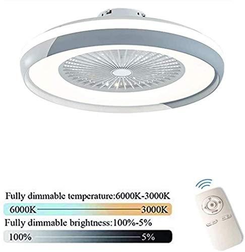 LED Deckenventilator Mit Beleuchtung Und Fernbedienung Leise 60W Deckenleuchte Dimmbare Moderne Deckenlamp Schlafzimmer Unsichtbare Ventilator Wohnzimmer Kinderzimmer Fan Lampe,Grau
