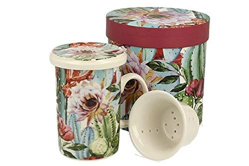 Duo Tropical Collection - Juego de tazas de té (320 ml, colador de porcelana china, en caja de regalo), diseño tropical