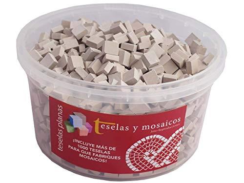 Cubo 1000 teselas beige para mosaico planas de 7,5x7,5x3 mm. + regalo cola blanca uso escolar