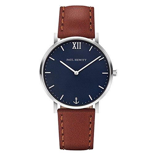 PAUL HEWITT Armbanduhr Männer Edelstahl Sailor Line Blue Lagoon - Herren Uhr Lederarmband (Braun), Silberne Herren Armbanduhr, blaues Ziffernblatt