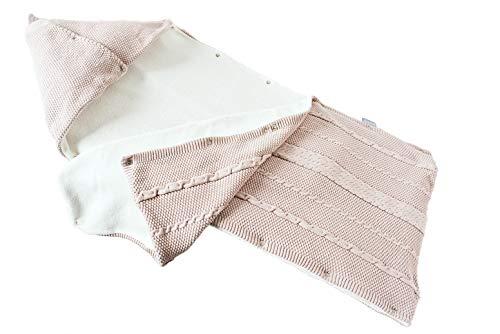 sei Design Baby Schlafsack gestrickt aus 100% Baumwolle | Erstlingsdecke | Puckdecke Swaddle in hübscher Geschenk-Verpackung