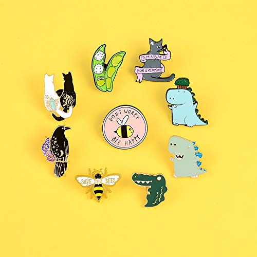 SHAOWU Animal enamel pins Cat yin yang anime pins and brooches for party Lapel pin badge Cartoon dinosaur bee jewelry gifts for women cartoon4