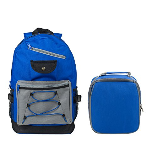 Reinforced Water Resistant School Backpack and Insulated Lunch Bag Set (1, Royal Blue)