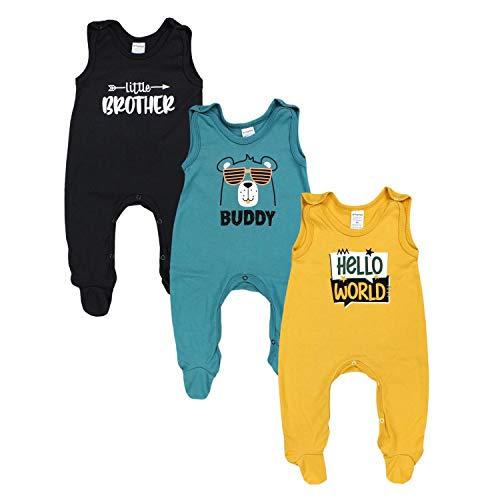 TupTam Baby Jungen Strampler mit Aufdruck Spruch 3er Pack, Farbe: Farbenmix 4, Größe: 62