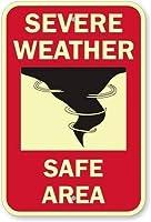 2個 悪天候安全エリア(グラフィック付き)、GlowSmart™グローインザダーク接着剤サイン、金属サイン、8 'x 12'
