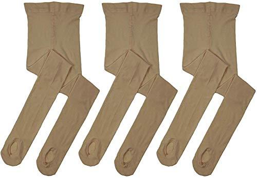 MdnMd 3 Pack Girls Ballet Dance Tights Transition Footless Ballet Legging Stocking Pantyhose (Tan/Caramel, Child Age 9-11)