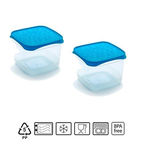 Set de 2 Coupelles hermeticos carrés avec couvercle bleu de 0,6 l – BPA Free.
