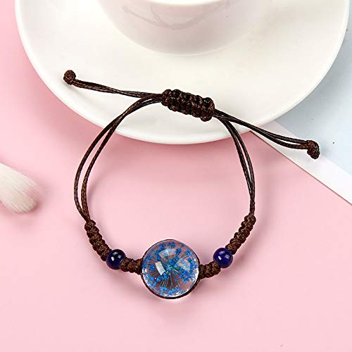 ANGYANG Woven Bracelet,Brown Rope With Blue Glass Flower Ceramic Beads Hand-Weave Adjustable Charm Bracelets Cute Lucky Friendship For Girl Couples Women
