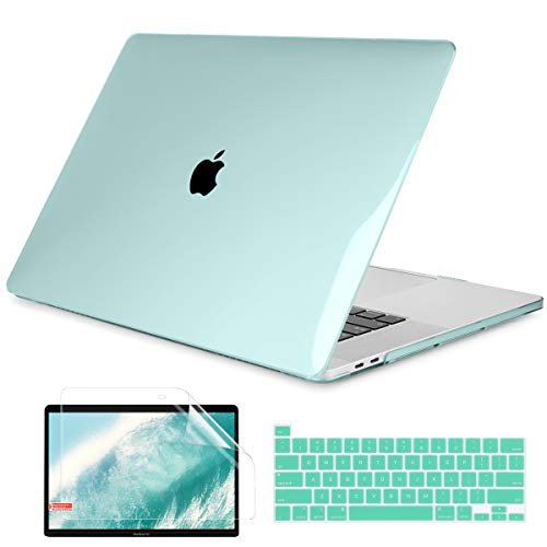 Dongke MacBook Pro 16 inch Case A2141 (2020 2019 Release), Hard Shell Case with Keyboard Cover & Screen Protector for MacBook Pro 16' with Touch Bar and Touch ID, Crystal Green