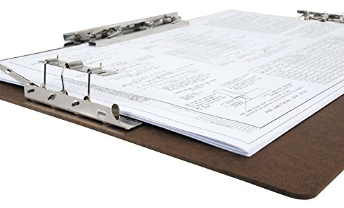 "17 x 11 Inches Hardboard/Clipboard with 8-Inch Lever Operated Clip and 2 - 4"" Lever Operated Clip Brown"