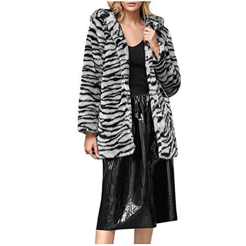 LULUZ Damen Kunstpelz Mode Wintermantel Mit Kapuze Langarm Fellmantel Pelzkragen Winter Leopard/Tigermuster Weste Mantel Plüsch Jacke Warm Baumwolle Winterjacke