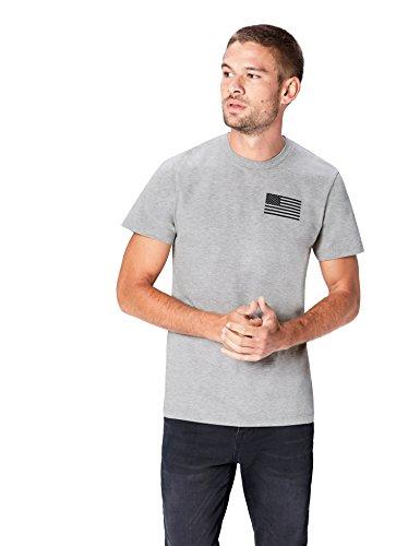 Marca Amazon - find. Camiseta Bronx para Hombre, Gris (Grey