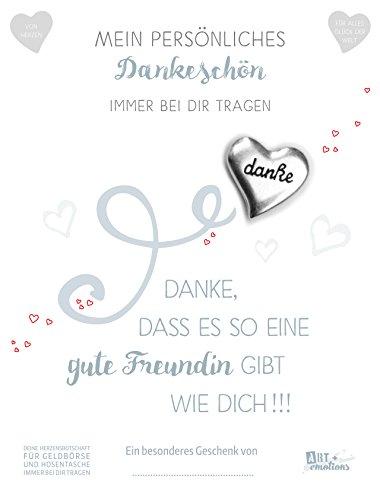 ART + emotions Dankesbotschaft Münze 925 versilbert mit Geschenkkarte und Text - Danke das es… Glücksbringer Talisman für die Hosentasche und Geldbörse
