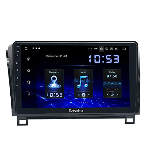 Dasaita 10.2 inch Touch Screen 1 din Android 10.0 Car Stereo for Toyota Tundra 2007 to 2013 and Sequoia 2008 to 2018 Radio GPS DSP 4G Ram 64G ROM Bluetooth Navigation Carplay Android Auto