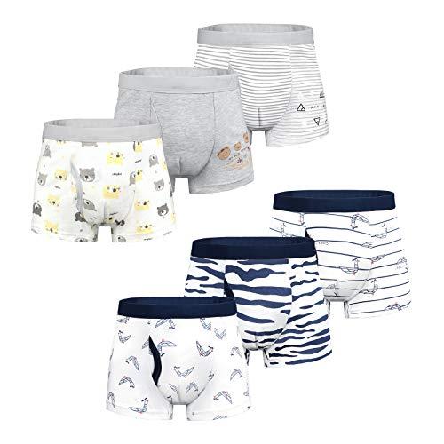 Yoofoss 6 Pezzi Cotone Ragazzi Boxer Bambino Ragazzi Boxer Slip Ragazzo Mutande Boxers Intimo Pantaloncini da Bagno per Bambini 4-5 Anni