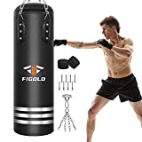 Figolo Entry-Level Hanging Punching Bag Set 42' - 45lbs,Adults Boxing Heavy Bags,Great for Kickboxing Fitness Training Muay Thai MMA, Home Gym