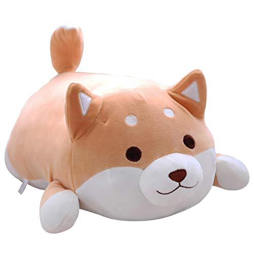Shiba Inu Dog Plush Pillow, Soft Cute Corgi Stuffed Animals Doll Toys Gifts for Valentine, Christmas, Birthday, Bed, Sofa Chair (Brown Round Eye, 21.3in)