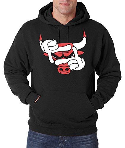 TRVPPY Herren Hoodie Kapuzenpullover Modell Bulls, Schwarz, S