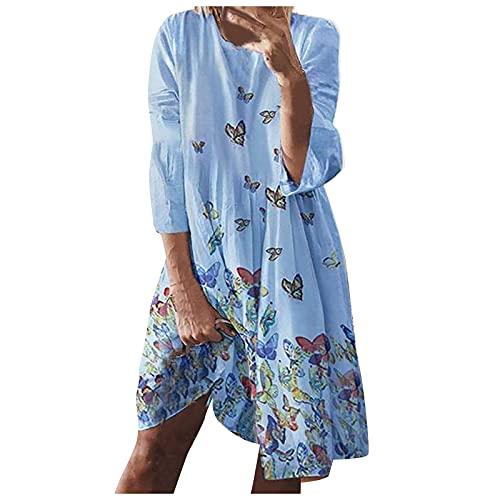 Damer långa klänningar fjäril/blad tryckta sommarklänningar casual strandklänning O-hals långärmad aftonklänningar lös festklänning kvinnor boho fritidskläder