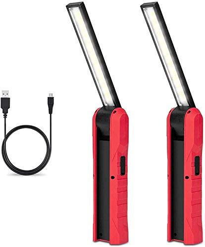 Linkax Linterna Taller LED Recargable,USB Linterna de Trabajo,360°Rotate 4 Modos lámpara de Inspección,Linterna LED Portátil con Base Magnética para Casa Auto Emergencia Reparacion (2PCS)