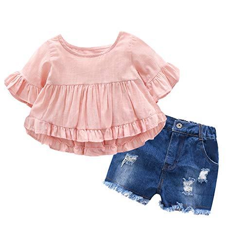 Gyratedream Baby Meisjes Kleding Set Voor 1-7 Jaar, Zomer Baby Meisje Katoen Effen Vlinder Mouw Blouse T-shirt Casual Denim Shorts Outfits Set, 2-3 Jaren, roze