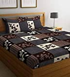 YATIN FAB Home Furnishing 144 TC Microfiber Box Printed Double Bedsheet with 2 Pillow Cover (Brown, 228 cm X 226 cm)