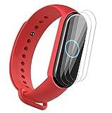 NOKOER Correas para Xiaomi Mi Band 5, [2 in 1] TPU Silicona La Correa + 3 Piezas Protector de Pantalla, [Resistente al Desgaste] [Transpirable] Pulsera para Xiaomi Mi Band 5 - Rojo