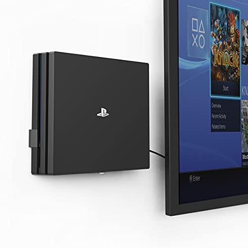 Monzlteck - Soporte de pared para PS4 Pro, cerca o detrás de TV, ahorra espacio, fácil de instalar