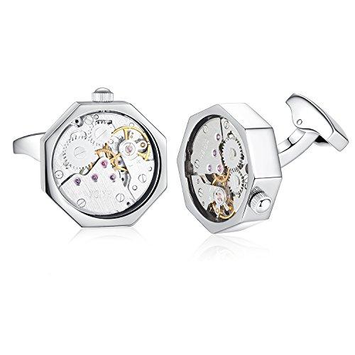 Honey Bear 1 Paar Herren Manschettenknöpfe Cufflinks Steampunk Uhrwerk Bewegung beweglich Edelstahl für Geschäftshochzeits Geschenk mit Kasten,Rechteck (Silber)