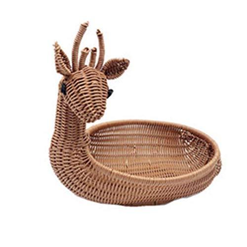 WUHUAROU Cesta de mimbre con forma de animal de sika, cesta de almacenamiento para objetos del hogar, maceta, pan de frutas y verduras, 33 x 22 cm