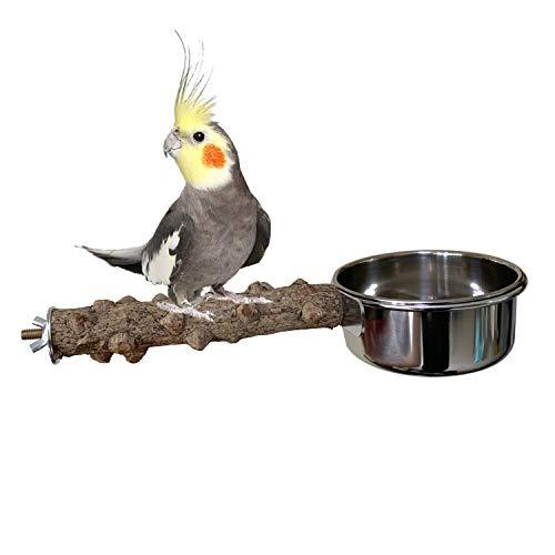 Vehomy Natural Wood Bird Perch with Bird Feeding Cups Bird Stainless Steel Food Water Bowls Dish Feeder for Cockatiel Conure Budgies Parakeet Parrot Bird Platform Stand