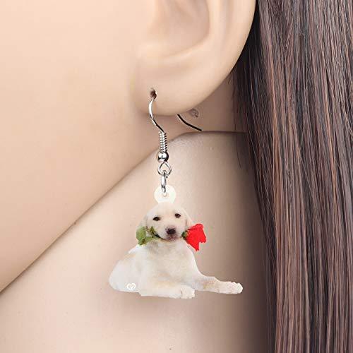 EHXWL Acrílico Rosa Flor Labrador Perro Pendientes Drop Dangle Animal Jewelry Festival...
