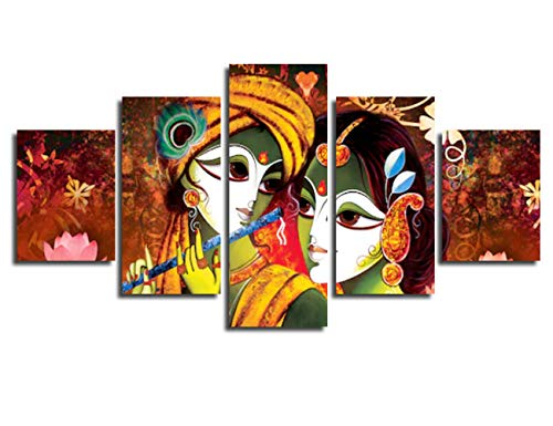 Wall Art Prints Radha Krishna Painting on Canvas Pop Pictures for Living Room Framed Wall Decor 5 Piece Decoration for Bedroom Ready to Hang(50''Wx26''H)